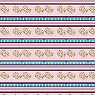 Pink Stripes Turquoise Checks Pattern by Melissa Park