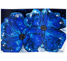 Evening Bloom Blue Flowers by Sharon Cummings Poster