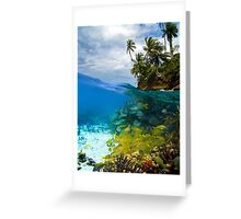 Shoal of fish and tropical shore with coconut trees Greeting Card