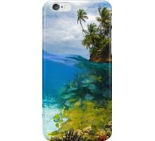 Shoal of fish and tropical shore with coconut trees iPhone Case/Skin