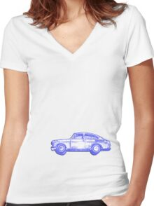zoom zoom blue Women's Fitted V-Neck T-Shirt