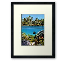 Colorful marine life underwater and tropical coast Framed Print