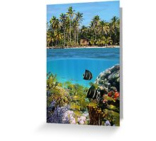 Colorful marine life underwater and tropical coast Greeting Card