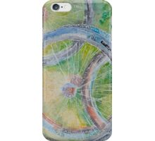 Stacked Bike Wheels On The Grass iPhone Case/Skin