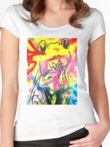 Graffiti Sailor Moon Women's Fitted Scoop T-Shirt