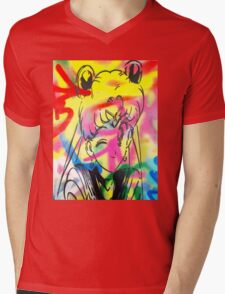 Graffiti Sailor Moon Mens V-Neck T-Shirt