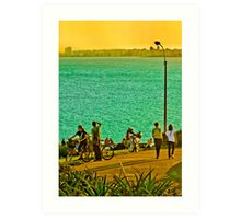 People Enjoyng a Sunny Day in a Park Art Print