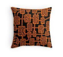 Abstract pattern 041113 - Orange on Black Throw Pillow