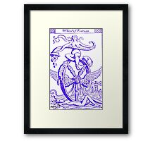 WHEEL OF FORTUNE TAROT CARD DESIGN BY LIZ LOZ Framed Print
