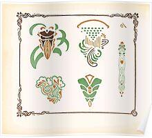 Maurice Verneuil Georges Auriol Alphonse Mucha Art Deco Nouveau Patterns Combinaisons Ornementalis 0032 Poster