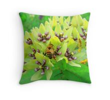 Milkweed and Bee Throw Pillow