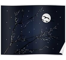 Night Birds and Full Moon Poster