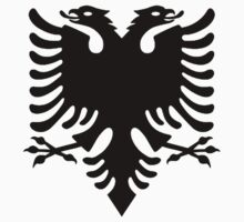 Albania, Albanian Black Eagle, Albanian Flag, Flag of Albania, Tale of the Eagle, Black on White Kids Clothes