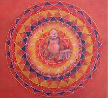 Abundance Buddha free-hand mandala by Renate van Nijen