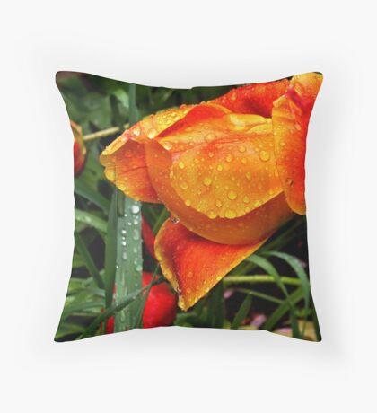 Tulip in the rain 1 Throw Pillow