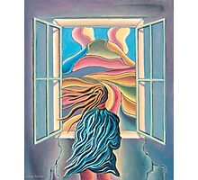 Girl by window Photographic Print
