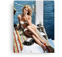Brigitte Bardot Smoking in a Bikini Canvas Print