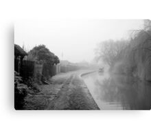 Foggy Canal At Shobnall Canvas Print