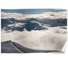 Low clouds and mountains Poster
