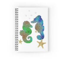 Pretty Blue Green Pattenred  Sea-Horses illustration Spiral Notebook