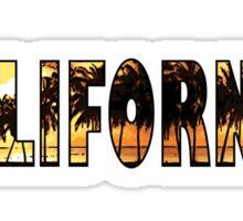 California palm trees word art Sticker