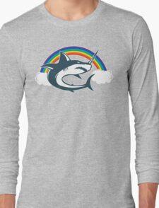 Unicorn Shark With Rainbow T Shirt Long Sleeve T-Shirt