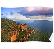 3 Sisters sunset, Katoomba Poster
