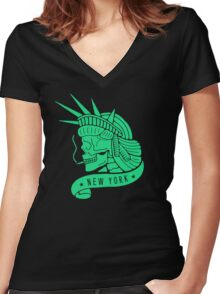 New York - Statue of Libery Skull (no background) Women's Fitted V-Neck T-Shirt