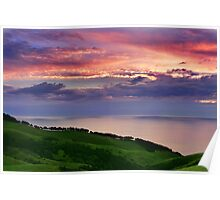 Sunset over emerald hills Poster