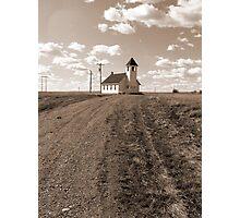 Prairie Church in Sepia Photographic Print