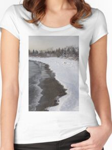 Snowy Winter Beach Patterns - Lake Ontario, Toronto, Canada Women's Fitted Scoop T-Shirt