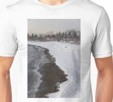 Snowy Winter Beach Patterns - Lake Ontario, Toronto, Canada Unisex T-Shirt