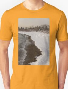 Snowy Winter Beach Patterns - Lake Ontario, Toronto, Canada T-Shirt