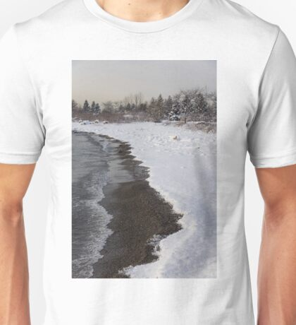 Snowy Winter Beach Patterns - Lake Ontario, Toronto, Canada Unisex T-Shirt