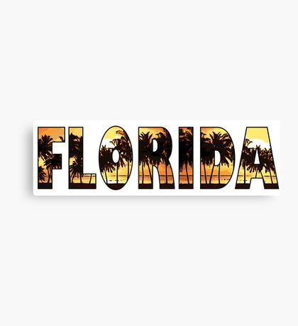 Florida tropical palm trees word art Canvas Print