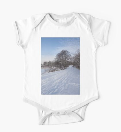 A Pale Blue Snowday  One Piece - Short Sleeve