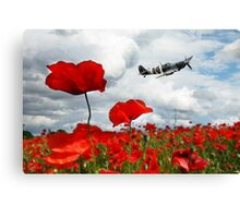 Spitfire Over The Poppy Canvas Print