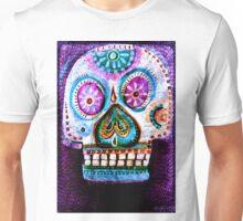 Purple Day of the Dead Sugar Skull folk art painting Unisex T-Shirt