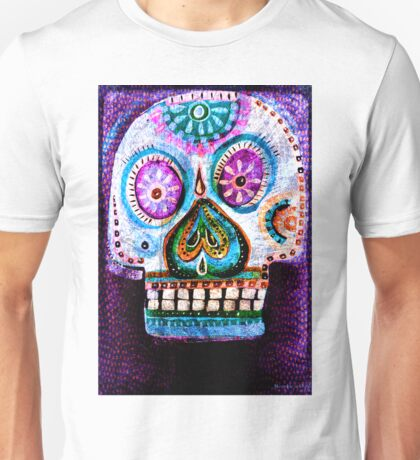 Day of the Dead Sugar Skull Purple folk art painting Unisex T-Shirt