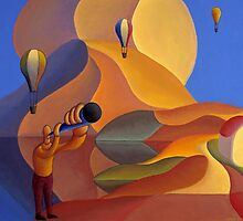 Dreamscape with balloons and musician by Alan Kenny