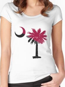 Garnet and Black Palmetto Moon Women's Fitted Scoop T-Shirt