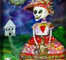 KATRINA walking her dog - Day of the Dead by dayofthedeadart