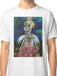 Angel Gothic Girl Skeleton - Day of the Dead print Classic T-Shirt