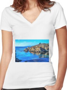 LAND AND SEA Women's Fitted V-Neck T-Shirt