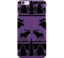Purple plaid moose rustic pattern iPhone Case/Skin