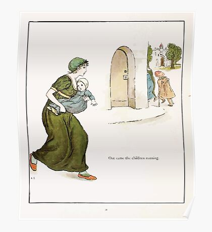 The Pied Piper of Hamlin Robert Browning art Kate Greenaway 0037 Out Came the Children Running Poster