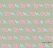 Pink Elephant and Blue Camel Jungle by Yannik Hay
