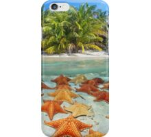 Beach with palm trees and starfish underwater iPhone Case/Skin
