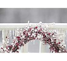 Iced Red Berry Wreath Photographic Print