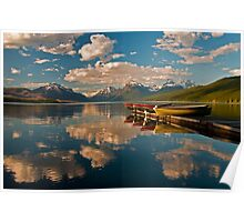 Boats at Lake McDonald, Glacier National Park Poster